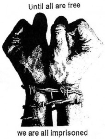 'Until all are free we are all imprisoned' Black-Brown fists barbed wire cuffed