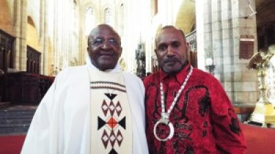 Archbishop Emeritus Desmond Tutu, Free West Papua Campaign founder Benny Wenda meet in St George's Cathedral, Cape Town, South Africa 022715