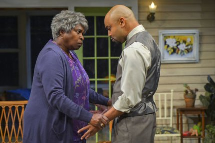 "Cheryl Lynn Bruce (Shelah) and Francois Battiste (Aubrey) perform in Tarell Alvin McCraney's ""Head of Passes,"" a poignant and poetic new play about the journey of family and faith, trial and tribulation at Berkeley Rep. – Photo courtesy of kevinberne.com"