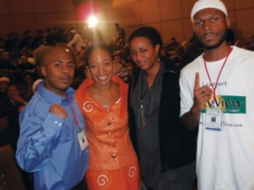 At the conference in Libya, which occurred only weeks before the conflict broke out that culminated in Qaddafi's death, are Minister of Information JR, Samia Nkrumah, daughter of the legendary Kwame Nkrumah and a political power in her own right, Ra'Shida and Young Malcolm. – Photo: JR Valrey, Block Report