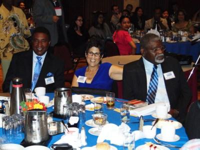 "Civil rights attorney John L. Burris, the keynote speaker, and honorees Carole Hyams-Howard and Elbert ""Big Man"" Howard at the Sonoma County ACLU luncheon – Photo: Morris Turner III"