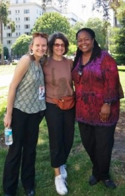 Emily Harris, now with the Ella Baker Center, with Deirdre Wilson and Hafsah Al-Amin from California Coalition for Women Prisoners