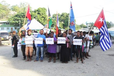 Demonstrators in the Solomon Islands, which lie east of Papua, show solidarity with West Papua's bid to join Melanesian Spearhead Group. Melanesia, consisting according to Wikipedia of Solomon Islands, Vanuatu, Fiji, Papua New Guinea, New Caledonia, Maluku Islands and West Papua, is named for the melanin that shows the people's original home was in Africa.
