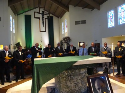 The Alpha Phi Alpha fraternity performed its Omega Ceremony for Michael Lange at his funeral in St. Columba Catholic Church. – Photo: Wanda Sabir