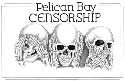 This drawing, also by Michael D. Russell, expresses the strong opposition to censorship by the men in solitary confinement in the Pelican Bay SHU, when, in the months leading up to the huge 2013 hunger strike, five monthly editions of the Bay View were withheld from them in a CDCR effort to prevent or minimize the strike. Though they couldn't read articles in those papers written by prisoners discussing the strike until months later, the strike nevertheless was the largest prison strike in history, with 30,000 prisoners participating on July 8, 2013.