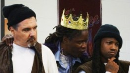 "In the San Quentin production of Shakespeare's ""Macbeth,"" John Owen Neblett plays the first murderer, Reese Reed the second murderer and Julian ""Luke"" Padgett plays Macbeth. – Photo: Wanda Sabir"