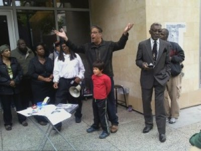 Sheriff Ross Mirkarimi came with his son to support the Save the Jazz Heritage Center rally on June 6, organized by the Fillmore Bay Area Media Group. – Photo: Rochelle Metcalfe