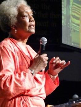 Dr. Frances Cress Welsing speaks at Black Power Talks 2 on June 20 in Washington D.C. She will speak in Sacramento on July 11. – Photo: Wanda Sabir