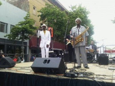 Legendary Fillmore stars Fillmore Slim and Bobbie Webb, on stage at Juneteenth Festival – Photo: Rochelle Metcalfe