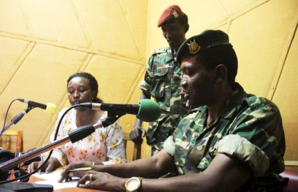 On May 13, 2015, Maj. Gen. Godefroid Niyombare told the nation that a coup had succeeded and that President Nkurunziza was no longer in control. Niyombare spoke from the studios of Radio Publique Africaine, a private radio station in Bujumbura, Burundi. After the coup failed, Western rights activists complained that the radio station had been shut down. – Photo: Jean Pierre Aime Harerimana, Reuters