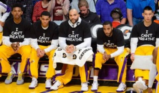 """The LA Lakers honored Eric Garner on Dec. 9, 2014, with """"I can't breathe"""" T-shirts."""