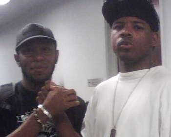 Aaron's celebrity supporters include Mos Def, left, who attended Aaron's sentencing hearing on July 24, 2007, in Chicago.
