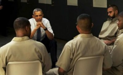 """President Obama's motorcade, when he visited prisoners and toured the El Reno federal medium security prison in Oklahoma, was met with demonstrators waving Confederate flags as """"Confederate Lives Matter"""" protests were held in Oklahoma City. His discussion with the prisoners will air this fall on the HBO series, Vice. – Photo: Vice Media"""