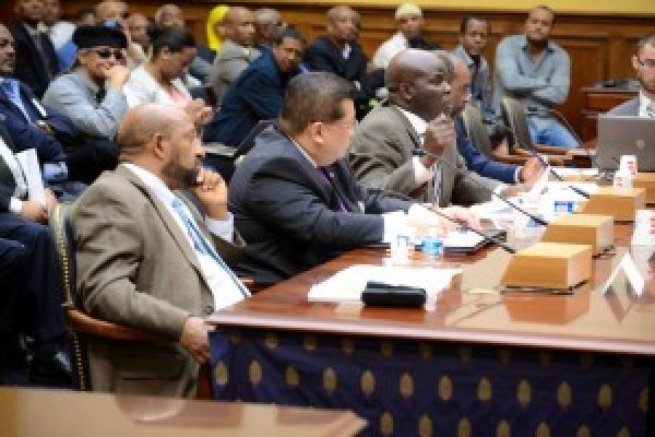 Obang Metho, center, testifies at the U.S. House Foreign Relations Subcommittee hearing – Ethiopia After Meles: The Future of Democracy and Human Rights – on June 20, 2013.