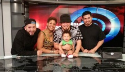 The Rebel Diaz family: G1, Claudia De La Cruz, Rodrigo Starz with baby Roque Starz and Peruvian cousin Sense Hernandez