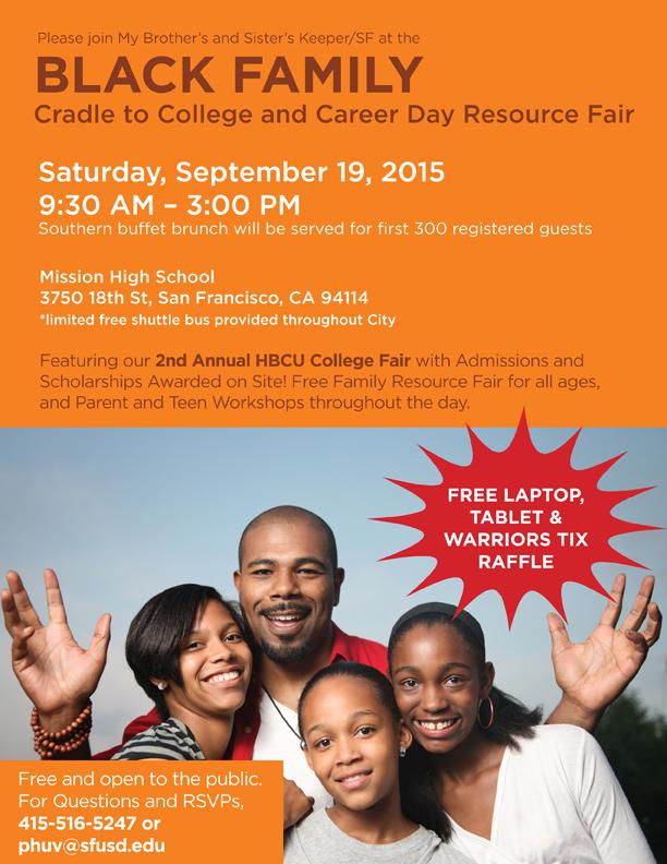 black family college resource fair flier 091915