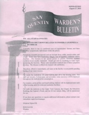 San Quentin Warden's Bulletin re Legionella water shutdown 082715