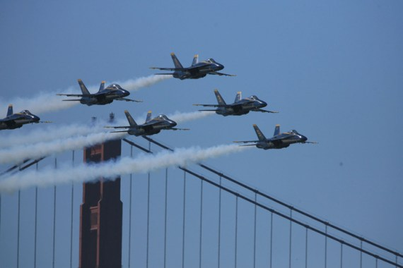 The Blue Angels FA-18s zoom past the Golden Gate Bridge, San Francisco, in October 2007. – Photo: Clark Cook