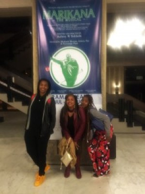 "Fanae Clark, LaShonda Taylor and Kierra Cotton-Bassette pose at the State Theater after watching the AMAZING musical ""Marikana."""