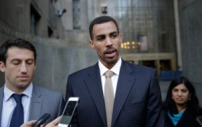 Thabo Sefolosha talks to reporters outside criminal court in New York on Friday after his acquittal. – Photo: Seth Wenig, AP
