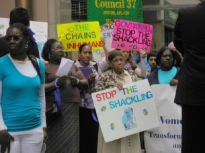 Public protests for women prisoners tend to target specific issues, like the shackling of women in labor. This protest was held outside the office of then-Gov. Paterson on July 8, 2009. – Photo: NYCLU