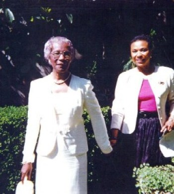 Congresswomen Shirley Chisholm and Barbara Lee at an event they attended together in Berkeley in about 1995.