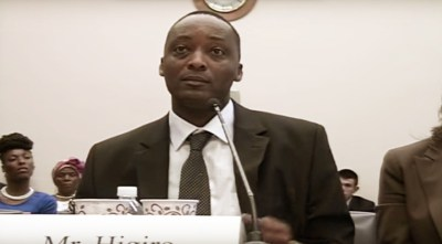 Former Rwandan military officer Robert Higiro testifies before a Congressional subcommittee on May 15, 2015.