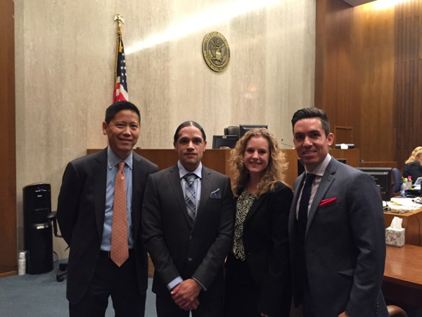 Jesse Perez's legal team – Randall Lee, lead attorney, Jesse Perez, Katie Moran and Matthew Benedetto – enjoys the victory in federal court in San Francisco Nov. 24, 2015. – Photo: Katie Moran