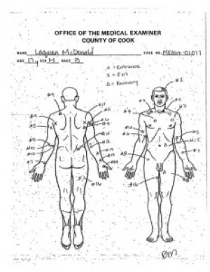 This undated autopsy diagram provided by the Cook County Medical Examiner's office shows the location of wounds on the body of 17-year-old Laquan McDonald who was shot by a Chicago Police Officer Jason Van Dyke 16 times in 2014. – Photo: AP