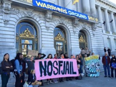 San Franciscans rally last July against the proposal for a totally unnecessary new jail.