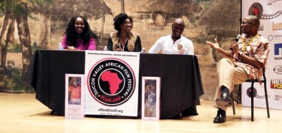 "Innovate Africa Technology Forum, a community with Africa's emerging creators and innovators, was held at 11 a.m. on Saturday, Oct. 17. From left to right are Uzo Amaka, author of ""Ages of Suffocation: Remembered Dreams""; Nneka Uzoh, representative of My Muse Dolls, a social enterprise that makes sure girls know their options; Fiifi Deku, creator and founder of Oyeewa, a news-on-demand service; and Chike C. Nwoffiah, festival director serving as moderator. – Photo: Art Roose"