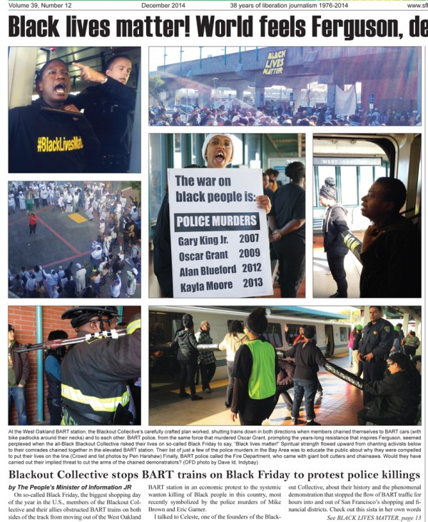 This is some of the Bay View's coverage of the Black Friday BART shutdown by Black Lives Matter.