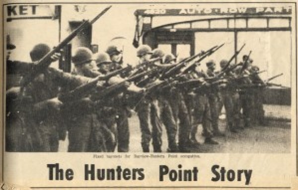"On Sept. 27, 1966, headlines around the world blared ""Riot in Hunters Point"" when Mayor John Shelley declared a state of emergency and called in 1,200 National Guard troops to quell a protest over the SFPD murder of 16-year-old Matthew Johnson. The youth-led Hunters Point uprising or rebellion focused not on destruction but on taking control of Hunters Point Hill, an act of self-determination that succeeded for several days as National Guard tanks rumbled up and down Third Street down below. This is the Oct. 8, 1966, front page of the Hunters Point Bayview Spokesman, then the Black newspaper based in the neighborhood, where many pushed out of the Fillmore relocated. The caption notes the National Guard's ""fixed bayonets for Bayview Hunters Point occupation."" The Black Panther Party was founded about two weeks later."
