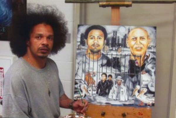"""The artist writes: """"I'm Steven James, proclaimed actually innocent, prolific African American artist, serving a 262-month federal prison sentence. I hadn't heard the full scope regarding the tragedy of Mr. Hugo 'Yogi' Pinell, who served 46 years in solitary confinement (mostly) at Pelican Bay Prison, until one evening when the San Francisco Bay View newspaper was shown to me by several of my Hispanic Northern California associates, 2.2 Man, Indio and Mousey. Then a second paper came to my attention through several Caucasian associates in support of ending solitary confinement. All pointed out the story of Mr. Hugo Pinell and suggested I paint something reflecting the un-breakable guerrilla-like strength Yogi maintained to uphold his pride and dignity. But more so as one who has also been incarcerated for a long term with a loving daughter, my heart goes out especially to the daughter Yogi left behind, who I noticed hugging her father in a visiting photo for the first time after 46 years of separation which moved me dramatically to create this 24 x 24-inch oil painting on canvas titled """"Concrete Jungle"""" depicting Hugo Pinell from youth to an aged older man, where long term solitary confinement is forcing men to survive on animal instincts. I'm offering this 'Concrete Jungle' painting as a gift to her from all of us in condolence and as an achievement award of honor and respect to Mr. Hugo Pinell, 'Yogi Bear,' who sacrificed his life to end long term solitary confinement for all races of those incarcerated. May you rest in peace, Yogi."""" – Art: Steven James, 34596-044, P.O. Box 2099, Pollock, LA 71467"""