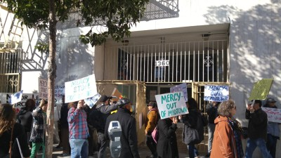 Midtown families were joined in a picket line outside of Mercy California by supporters from Plaza 16 Coalition, Save YBI, Eviction Free San Francisco, United Educators of San Francisco, ACCE and representatives of the San Francisco Labor Council.