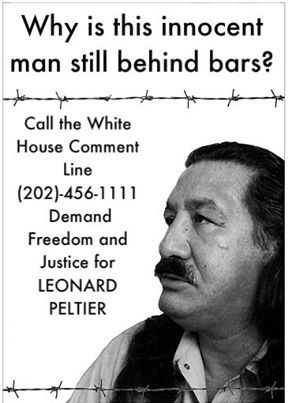 'Demand Freedom and Justice for Leonard Peltier' poster