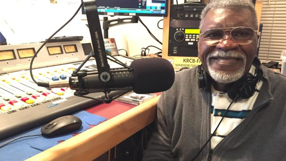 "Black Panther veteran Elbert ""Big Man"" Howard hosts Jazz Connections on KRCB-FM in Rohnert Park. – Photo: Gabe Meline"