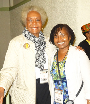 The Black world mourns the loss of Dr. Frances Cress Welsing, shown here at the October 2014 Florida AMU Black Psychology Conference with Wanda Sabir, and celebrates her legacy. – Photo: Wanda Sabir