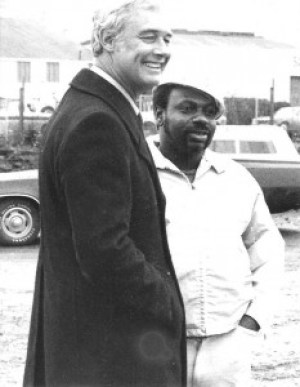 "When a Black construction worker was killed on the job building the sewage treatment plant in BVHP, which residents had strongly opposed until they won mitigation, Mayor George Moscone, shown here with Hawk, James Hawkins, came out to speak to the community. SF Blacks ""voted 100%"" in those days and got a lot of attention from City Hall. With the Justice for Mario Woods Coalition holding the city in virtual siege and Mayor Ed Lee's hair getting white by the day, maybe that attention will return."