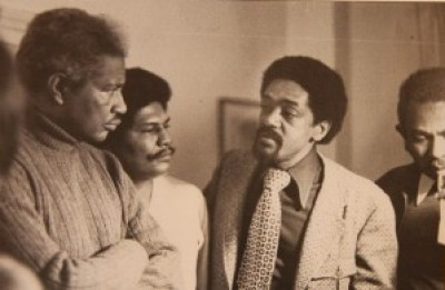 Black power was in the room when Ossie Davis, Dr. Nathan Hare, Black Panther co-founder Bobby Seale and Dr. Carlton Goodlett, partially obscured at right, conferred.
