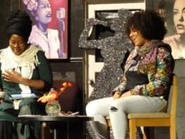 "Regina Evans (""52 Letters"") and Venus Morris discuss sexual trafficking at Black Rep on National Sexual Trafficking Awareness Day, Jan. 11. – Photo: Wanda Sabir"
