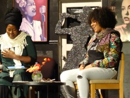 "Regina Evans (""52 Letters"") and Venus Morris discuss sexual trafficking at Black Rep on National Sexual Trafficking Awareness Day, Jan. 11. – Photo: Wanda Sabir"
