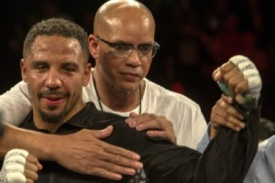 """Andre Ward and Coach Virgil Hunter savor one more win. Hunter is the man who taught a young Andre Ward to """"hit and not get hit."""" – Photo: Malaika H Kambon"""