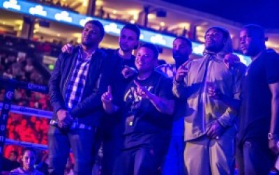 """A host of friends gathered to watch Andre """"SOG"""" Ward v. Sullivan Barrera at Oakland's legendary Oracle Arena: """"Squint,"""" professional photographer for Andre Ward; Stephen Curry, point guard for the world champion Golden State Warriors; Diante Thompson, childhood friend of Andre Ward; famed actor Michael B. Jordan (""""Creed"""" and """"Fruitvale Station""""); Marshawn Lynch, running back for the Seattle Seahawks; and Frank Gore, running back for the Indianapolis Colts. – Photo: Malaika H Kambon"""
