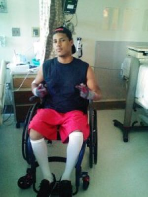 This is Bryson at Harborview Hospital in Seattle in June, three weeks after the shooting.