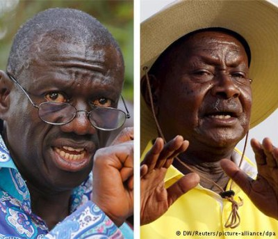 Dr. Kizza Besigye, left, and Gen. Yoweri Museveni both claim to have won Uganda's Feb. 18, 2016, election.