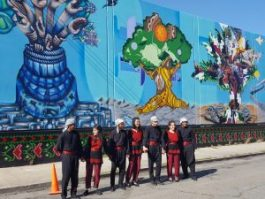 Silk Road Debke Troupe stand in front of the Oakland Palestine Solidarity Mural – Photo: Greg Thomas