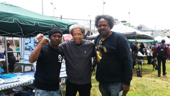 Finally, Albert Woodfox, locked in solitary for over four decades as one of the Black Panthers known as the Angola 3, can join forces with other freedom fighters, here with Minister of Information JR and Arthur League at the Malcolm X JazzArts Festival in Oakland on May 21, 2016. – Photo: JR Valrey, Block Report