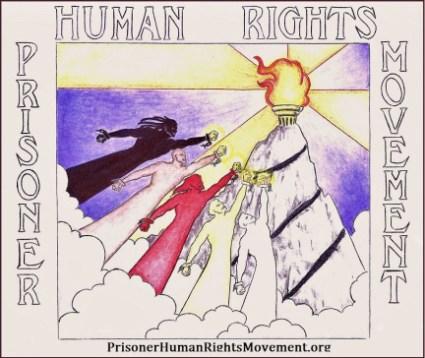 Prisoner Human Rights Movement (PHRM) logo – Art: J. Heshima Denham, J-38283, KVSP B2-117U, P.O. Box 5102, Delano CA 93216