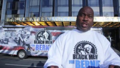 Bruce Carter and his Black Men for Bernie bus